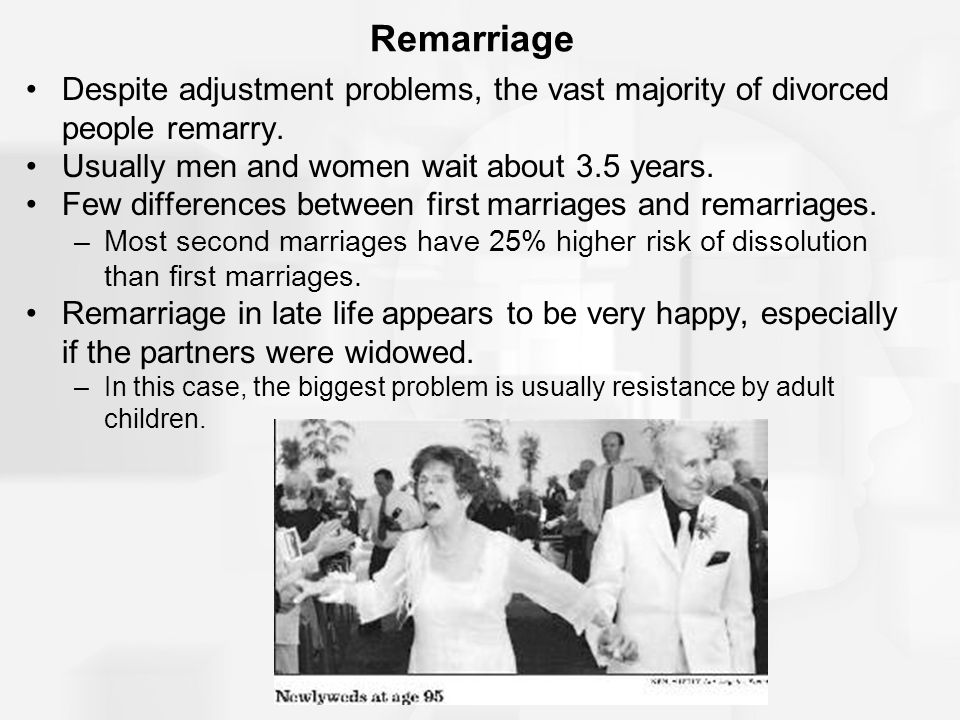 Remarriage Despite adjustment problems, the vast majority of divorced people remarry. Usually men and women wait about 3.5 years.