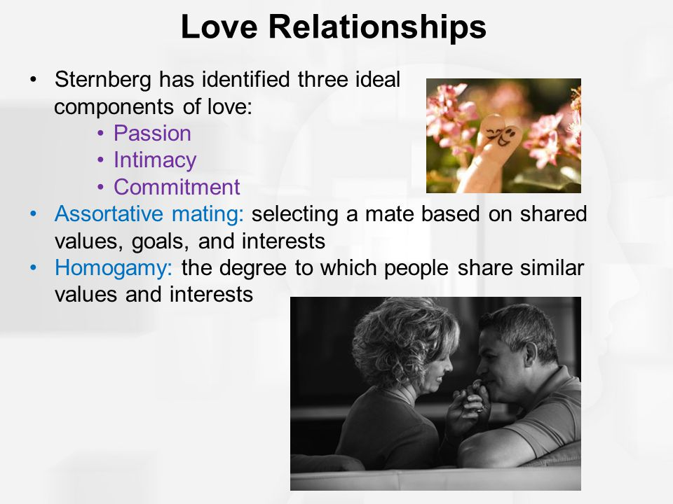 Love Relationships Sternberg has identified three ideal