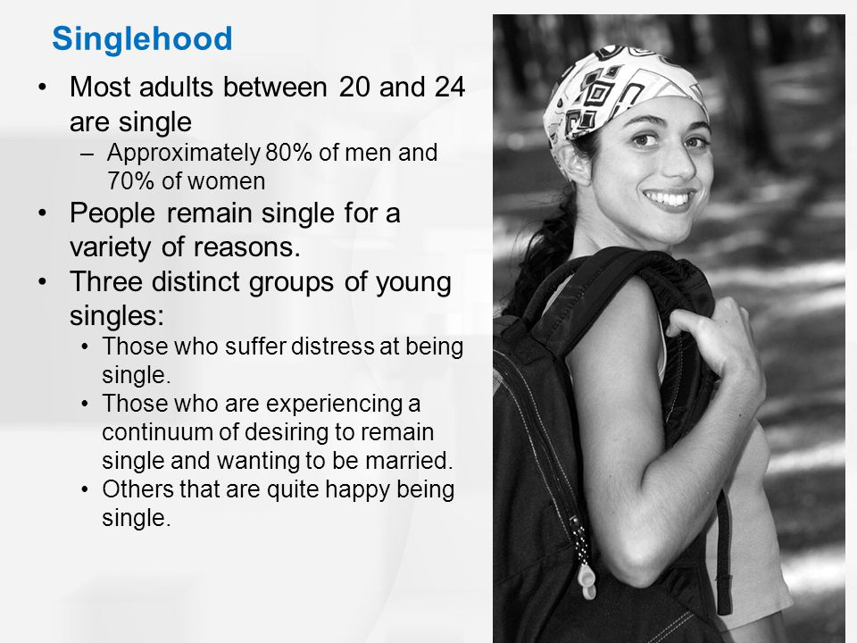 Singlehood Most adults between 20 and 24 are single