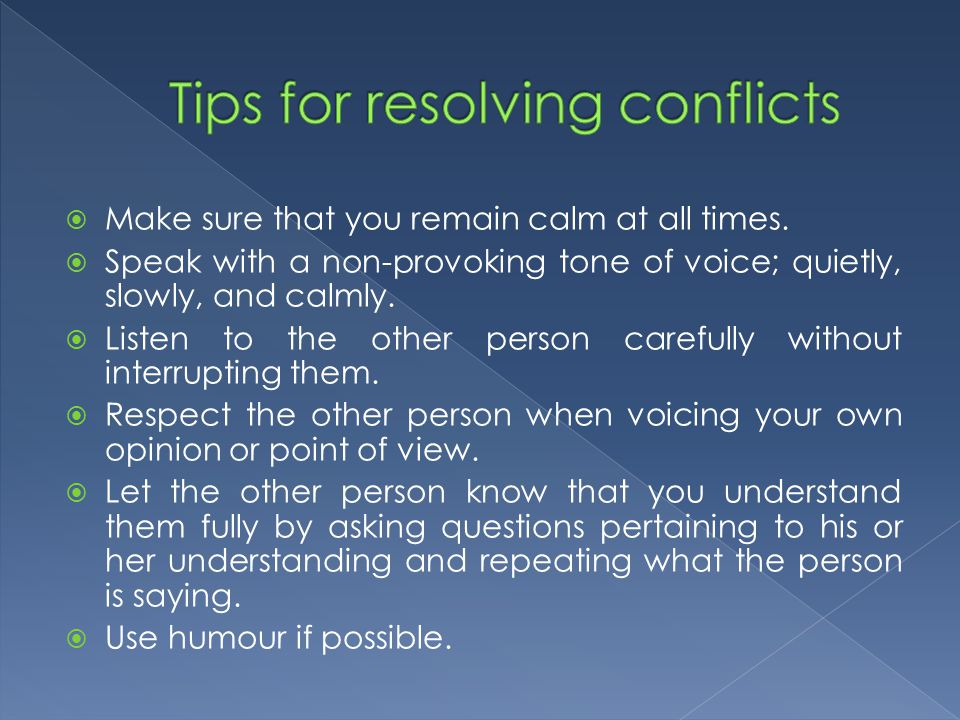 Tips for resolving conflicts