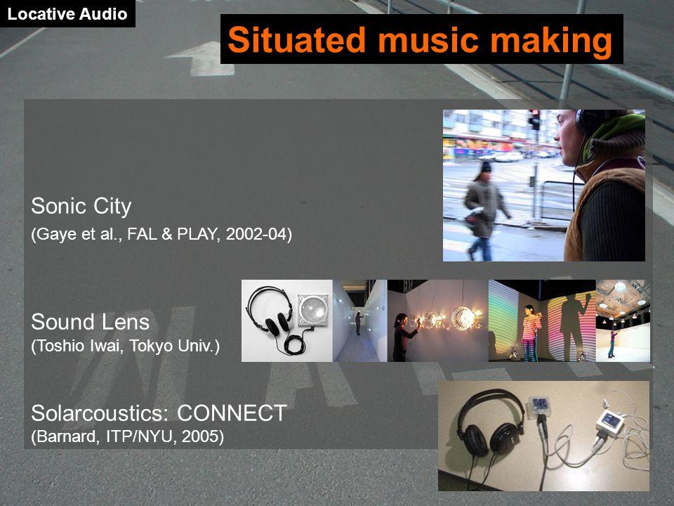 Situated music making Sonic City Sound Lens (Toshio Iwai, Tokyo Univ.)
