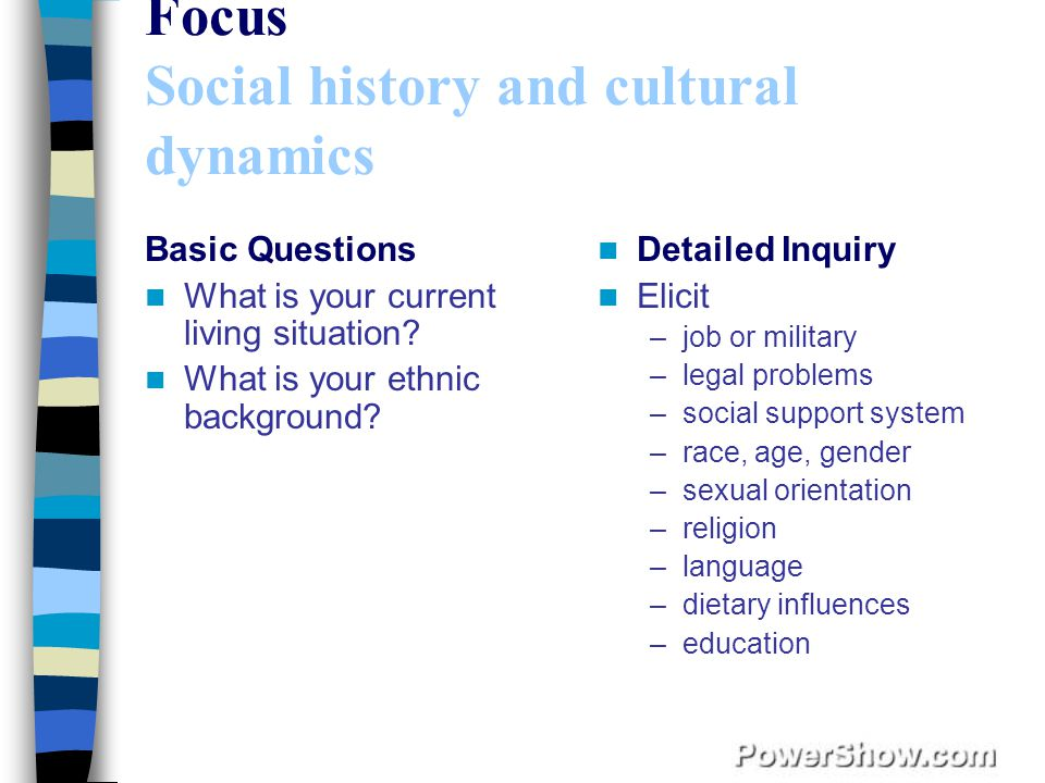 Focus Social history and cultural dynamics