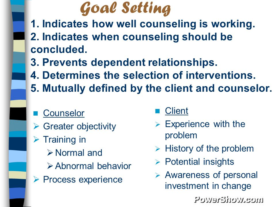 Goal Setting 1. Indicates how well counseling is working. 2
