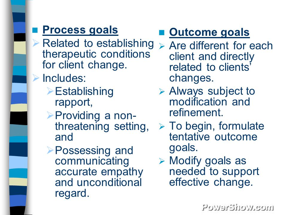 Process goals Related to establishing therapeutic conditions for client change. Includes: Establishing rapport,