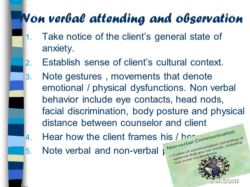 Non verbal attending and observation