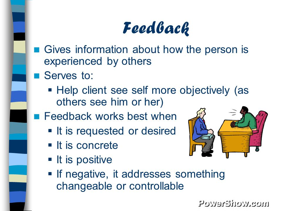 Feedback Gives information about how the person is experienced by others. Serves to: