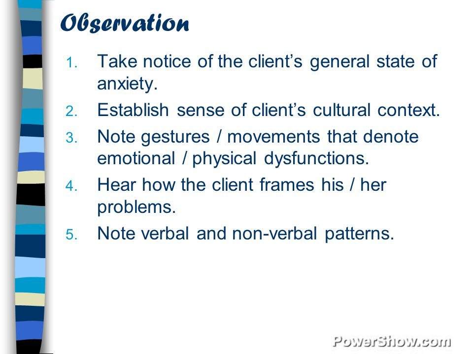 Observation Take notice of the client's general state of anxiety.