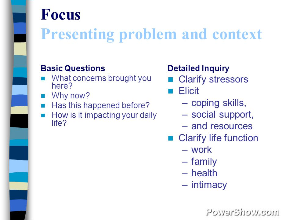Focus Presenting problem and context