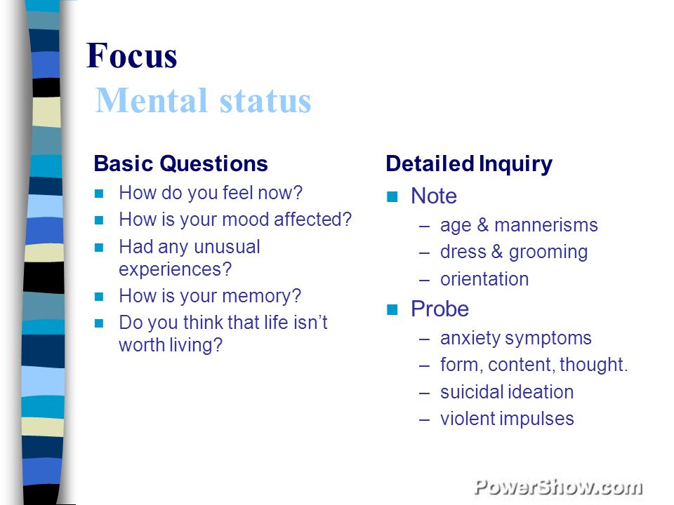Focus Mental status Basic Questions Detailed Inquiry Note Probe
