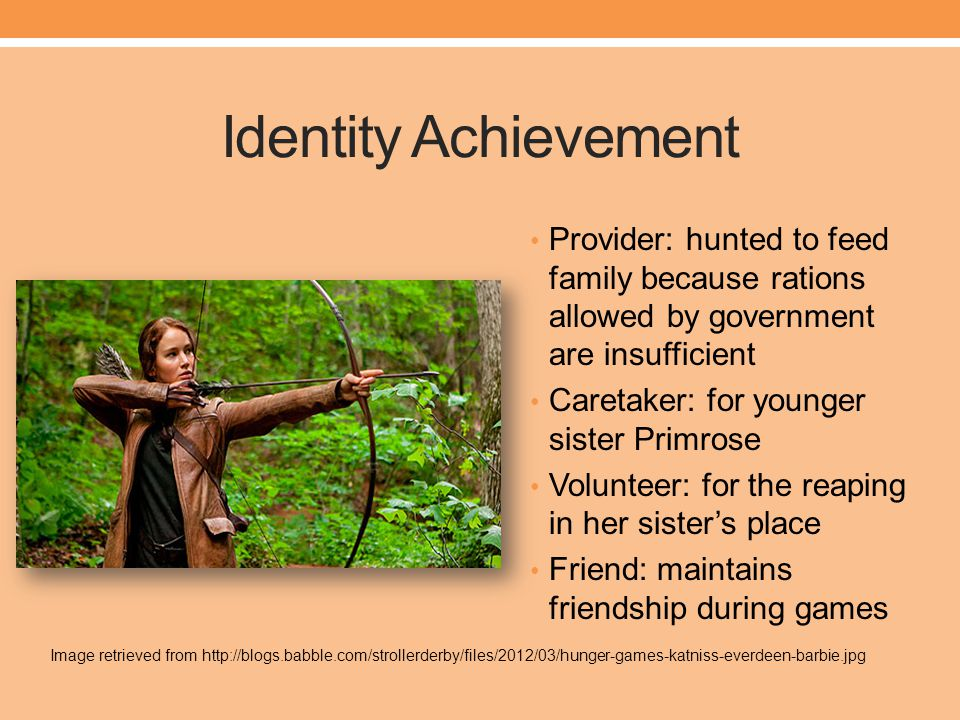 Identity Achievement Provider: hunted to feed family because rations allowed by government are insufficient.