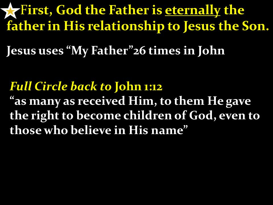 First, God the Father is eternally the father in His relationship to Jesus the Son.