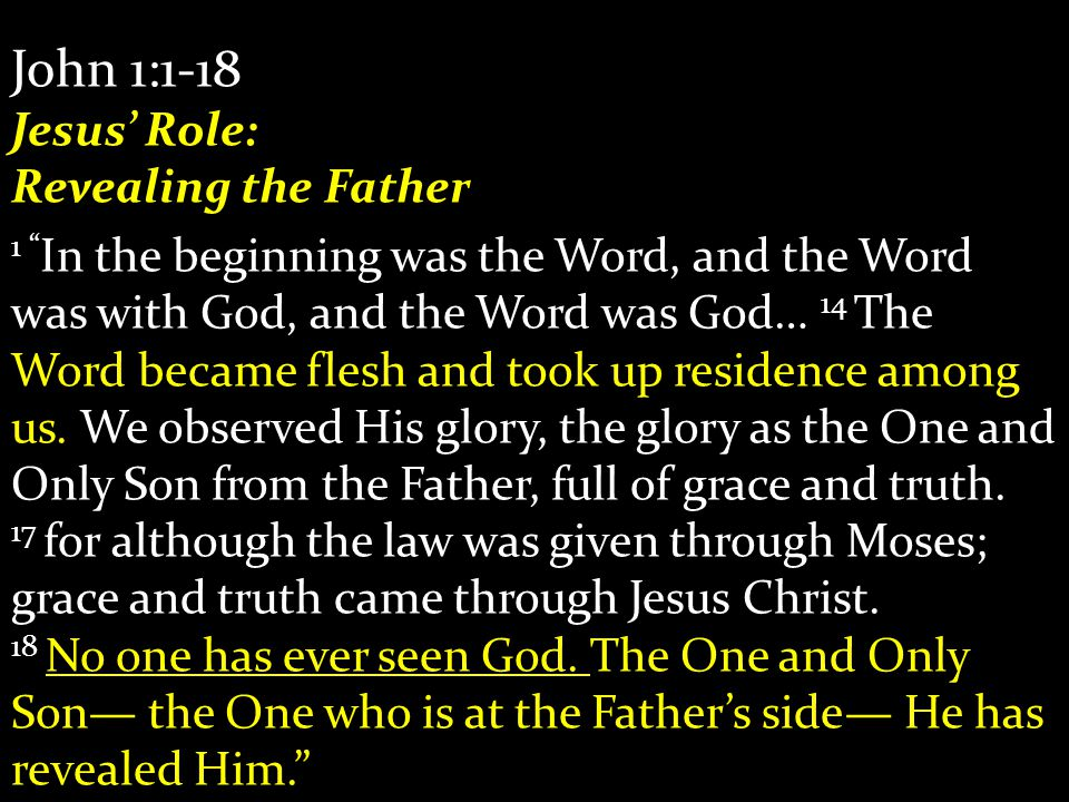 John 1:1-18 Jesus' Role: Revealing the Father