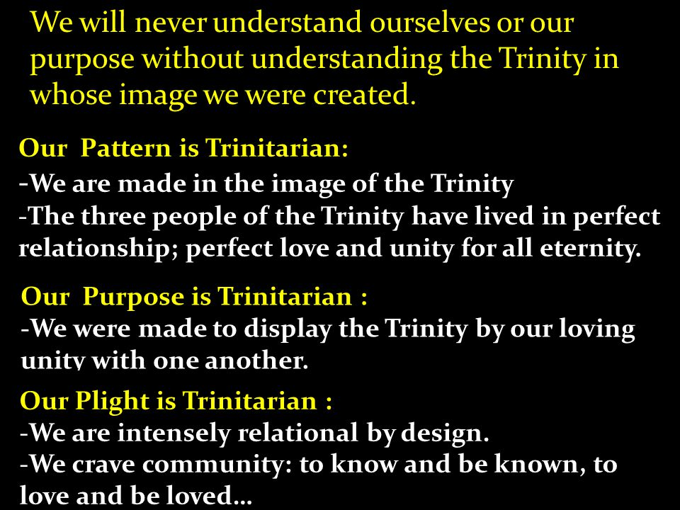 We will never understand ourselves or our purpose without understanding the Trinity in whose image we were created.