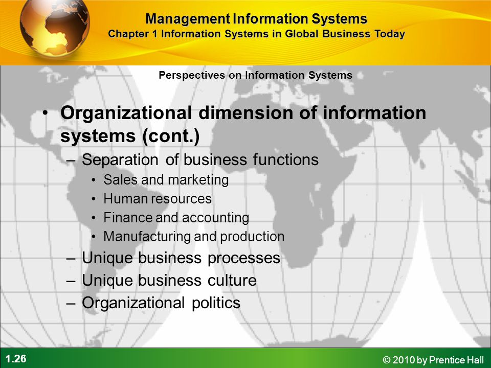 Organizational dimension of information systems (cont.)