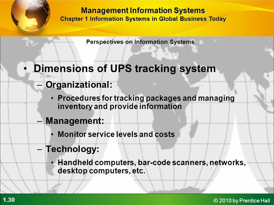 Dimensions of UPS tracking system