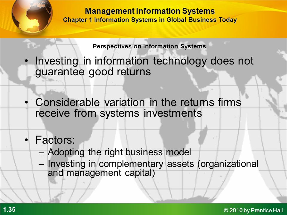 Investing in information technology does not guarantee good returns