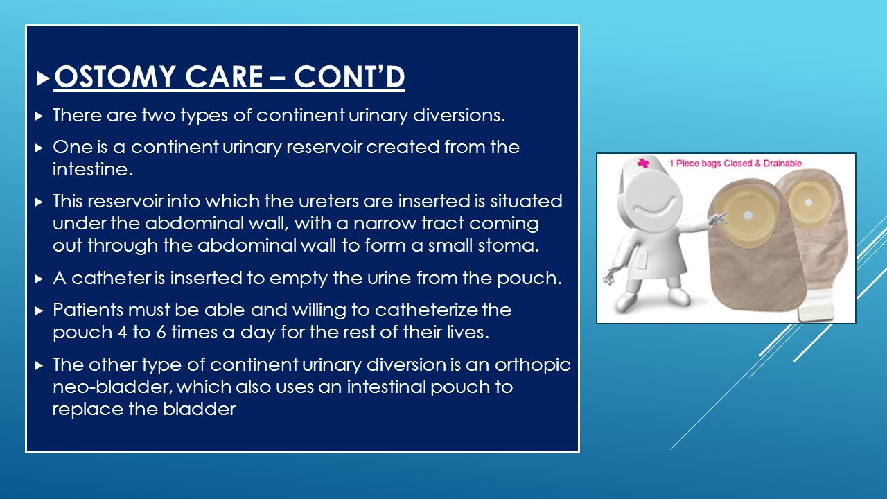 OSTOMY CARE – CONT'D There are two types of continent urinary diversions. One is a continent urinary reservoir created from the intestine.