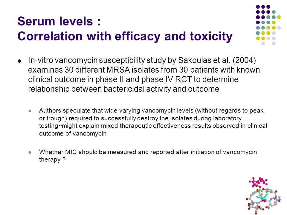 Serum levels : Correlation with efficacy and toxicity