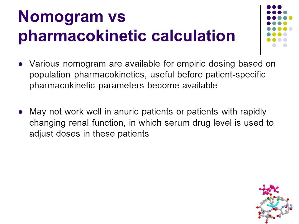 Nomogram vs pharmacokinetic calculation
