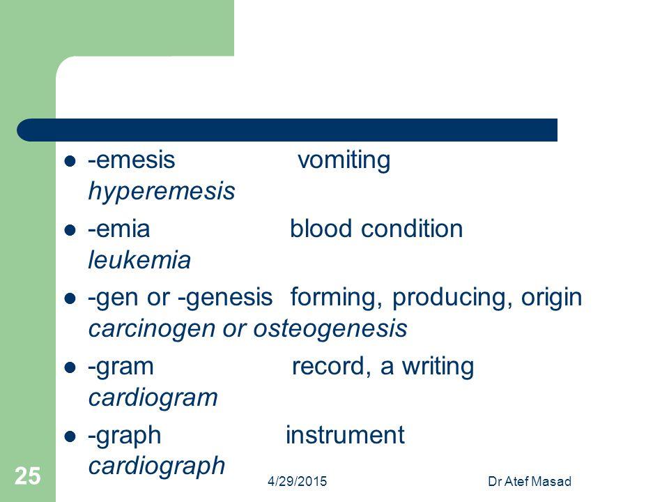 -emesis vomiting hyperemesis -emia blood condition leukemia