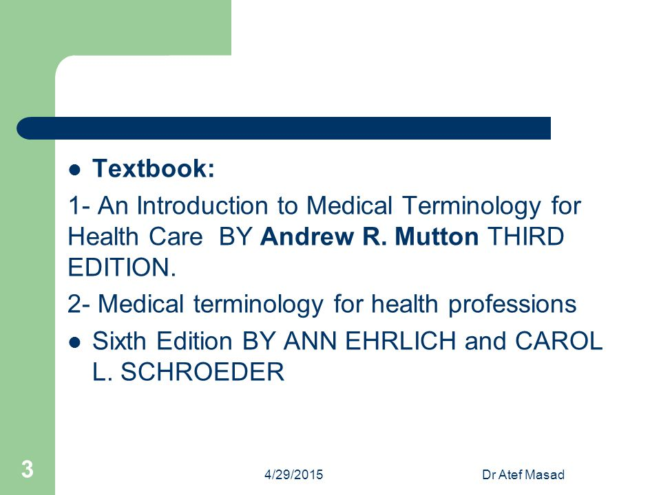 2- Medical terminology for health professions