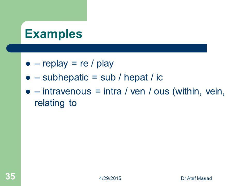 Examples – replay = re / play – subhepatic = sub / hepat / ic