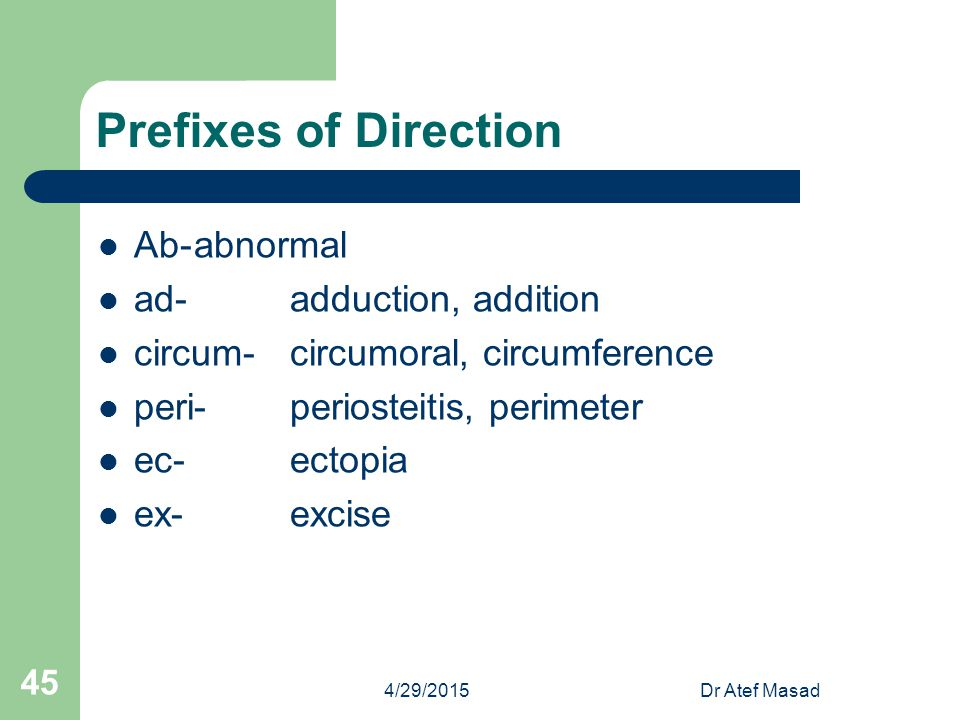 Prefixes of Direction Ab- abnormal ad- adduction, addition