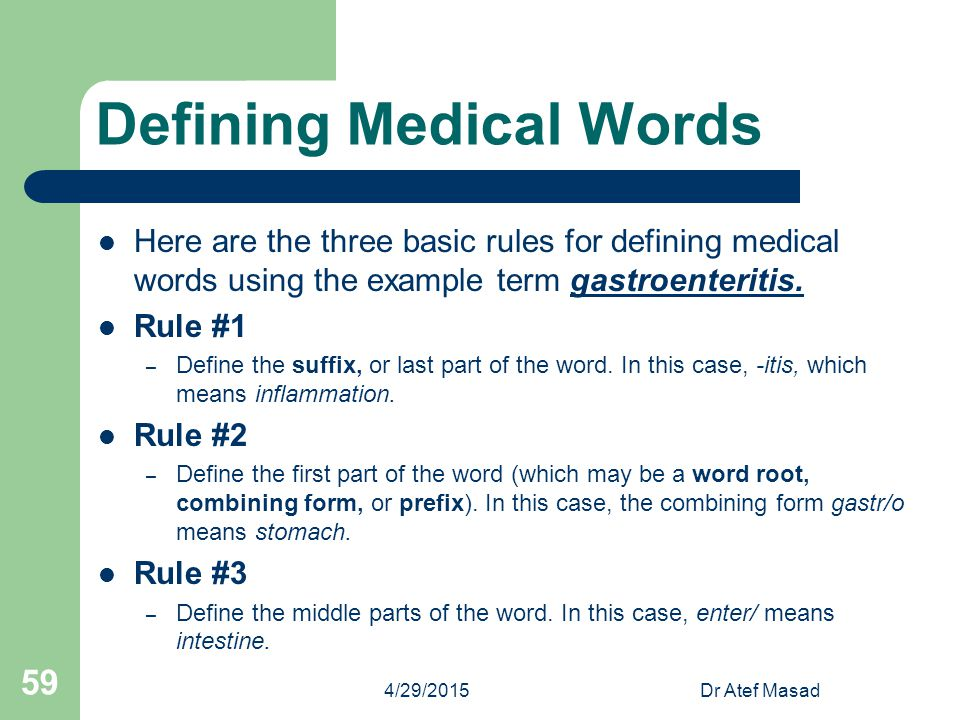Defining Medical Words