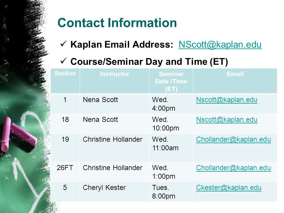 Seminar Date /Time (ET)