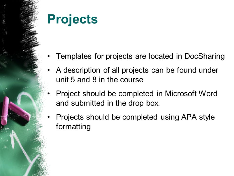 Projects Templates for projects are located in DocSharing