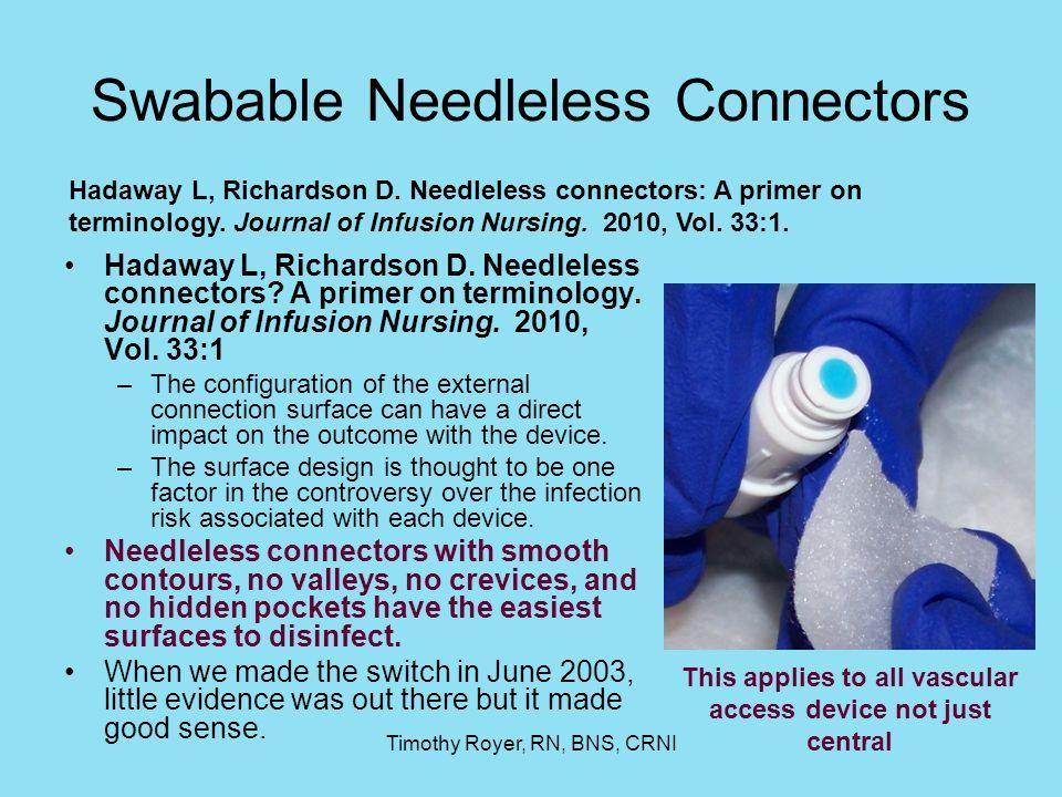 Swabable Needleless Connectors
