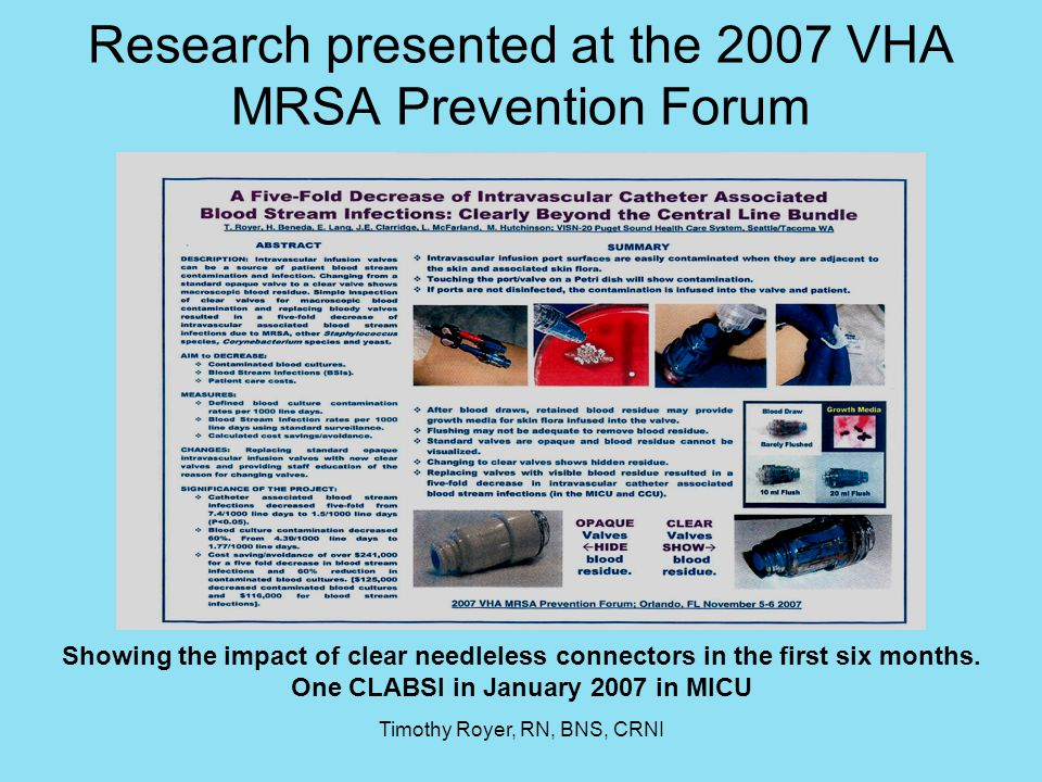 Research presented at the 2007 VHA MRSA Prevention Forum