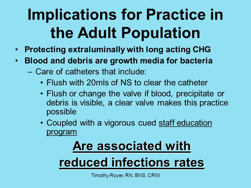 Implications for Practice in the Adult Population