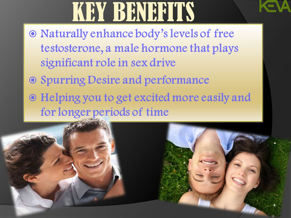 KEY BENEFITS Naturally enhance body's levels of free testosterone, a male hormone that plays significant role in sex drive.