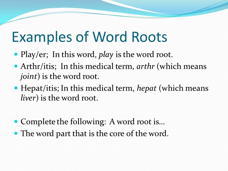 Examples of Word Roots Play/er; In this word, play is the word root.