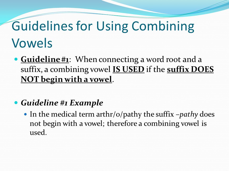 Guidelines for Using Combining Vowels