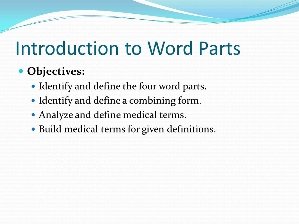 Introduction to Word Parts
