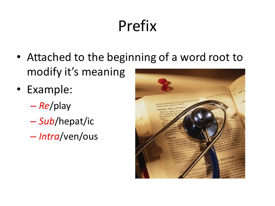 Prefix Attached to the beginning of a word root to modify it's meaning