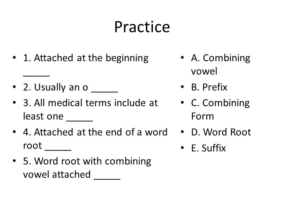 Practice 1. Attached at the beginning _____ 2. Usually an o _____