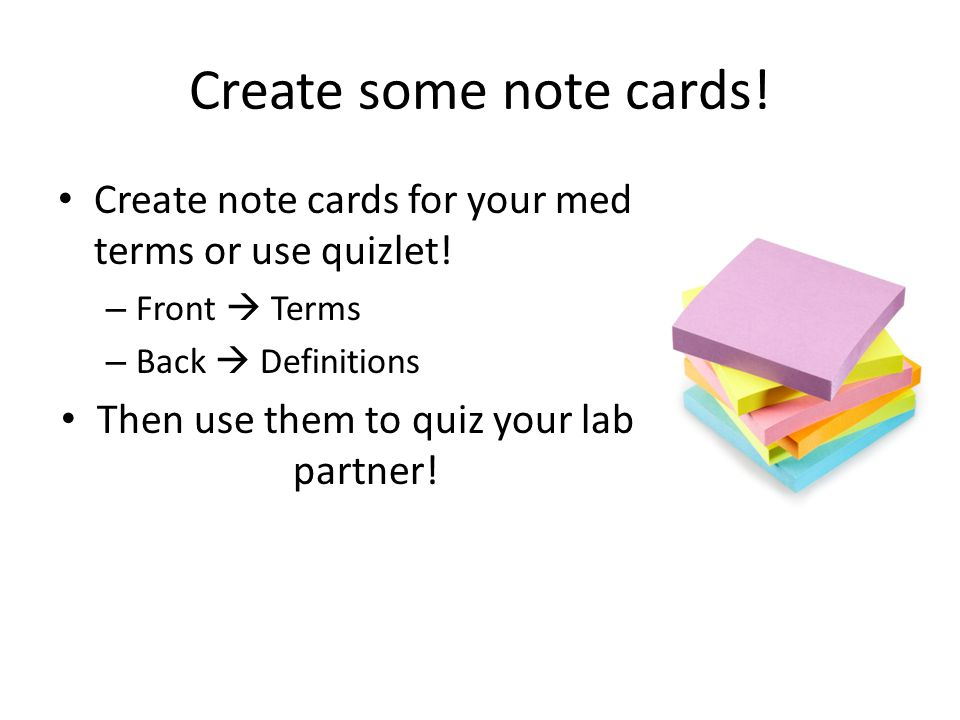 Then use them to quiz your lab partner!