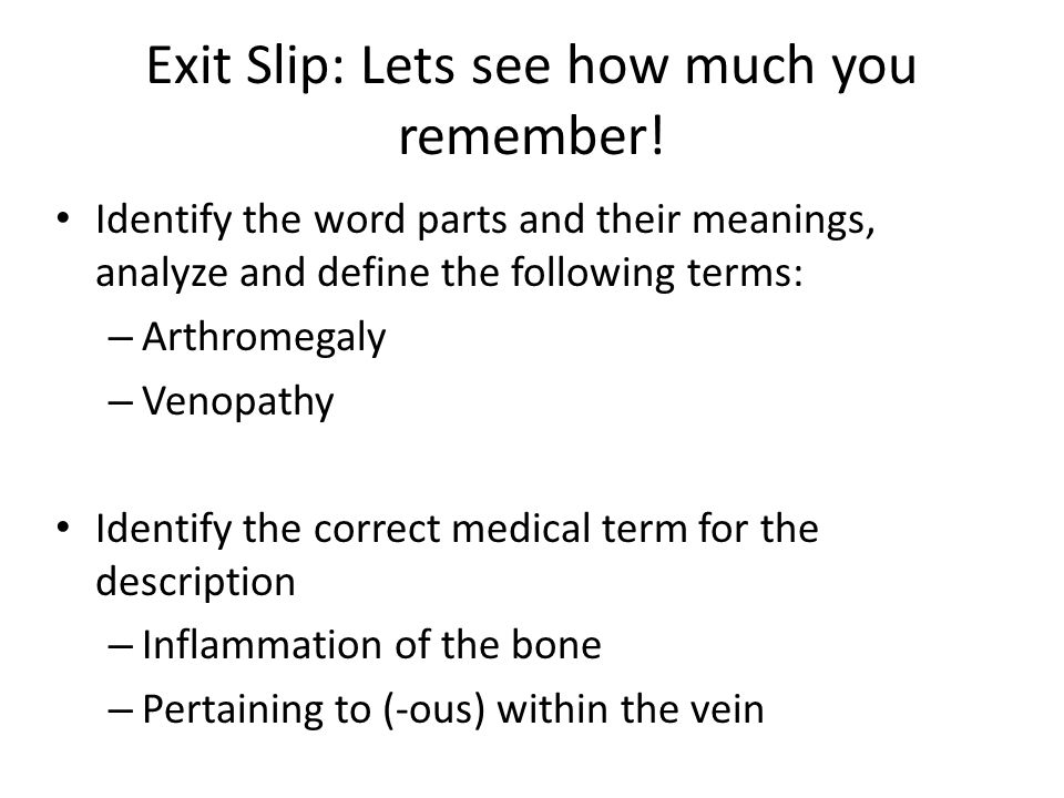 Exit Slip: Lets see how much you remember!