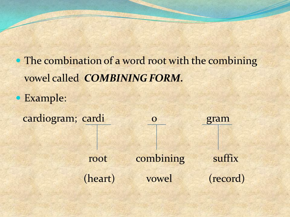 The combination of a word root with the combining vowel called COMBINING FORM.