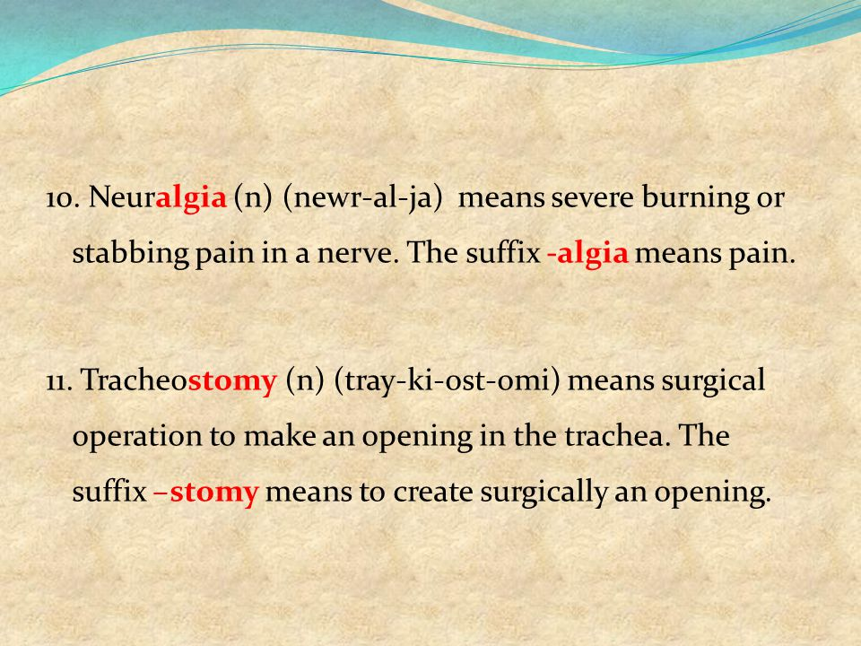 10. Neuralgia (n) (newr-al-ja) means severe burning or stabbing pain in a nerve.