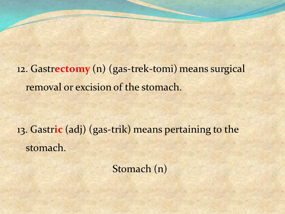 12. Gastrectomy (n) (gas-trek-tomi) means surgical removal or excision of the stomach.