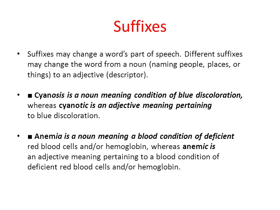 Suffixes Suffixes may change a word's part of speech. Different suffixes. may change the word from a noun (naming people, places, or.