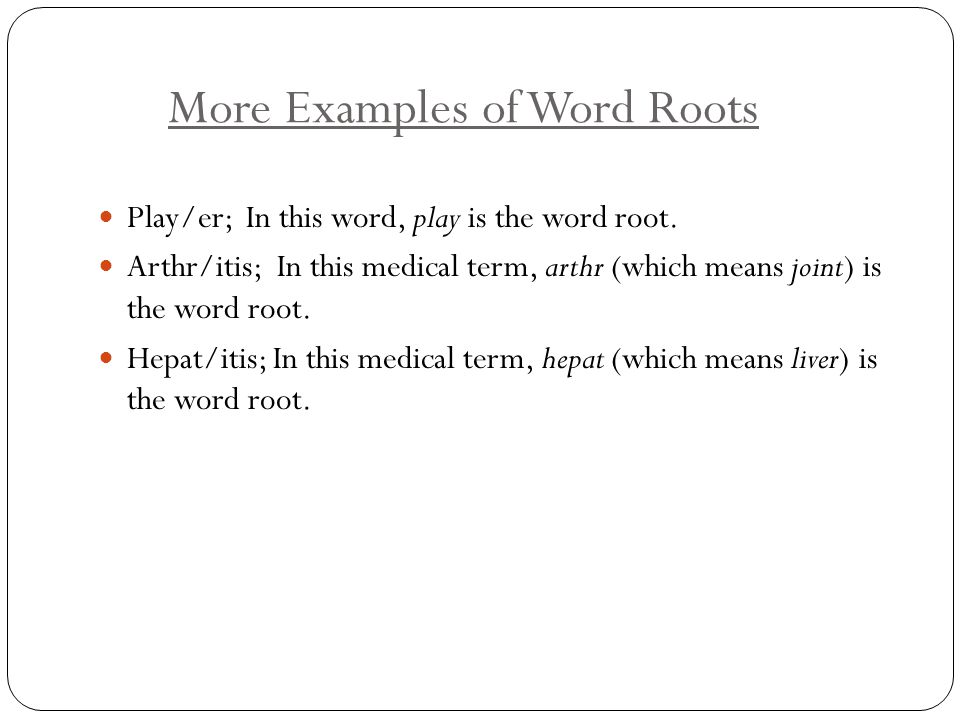More Examples of Word Roots