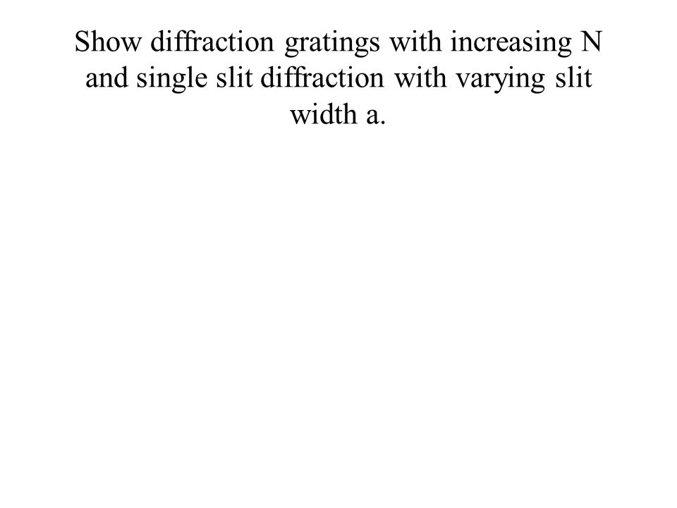 Show diffraction gratings with increasing N and single slit diffraction with varying slit width a.