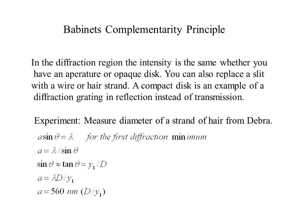 Babinets Complementarity Principle
