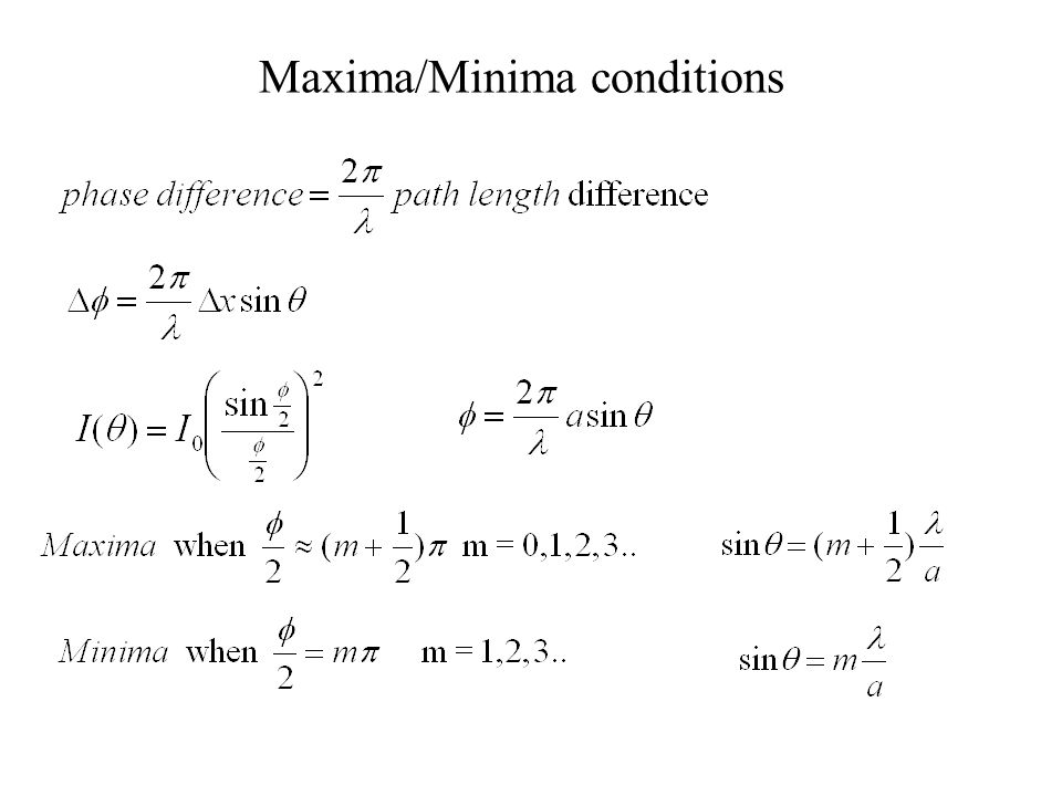 Maxima/Minima conditions