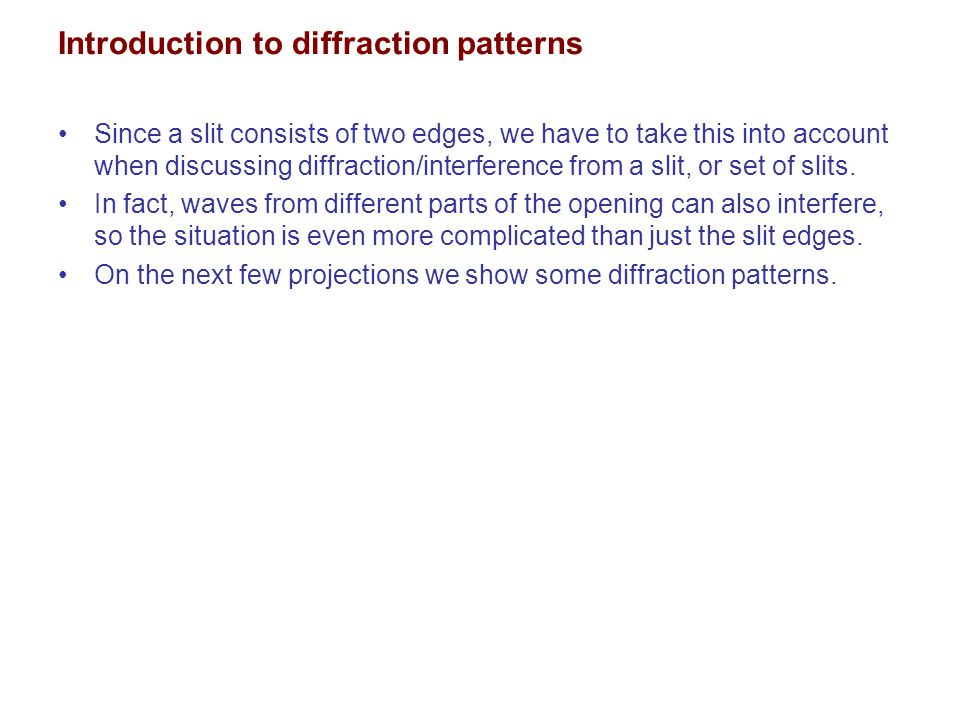 Introduction to diffraction patterns